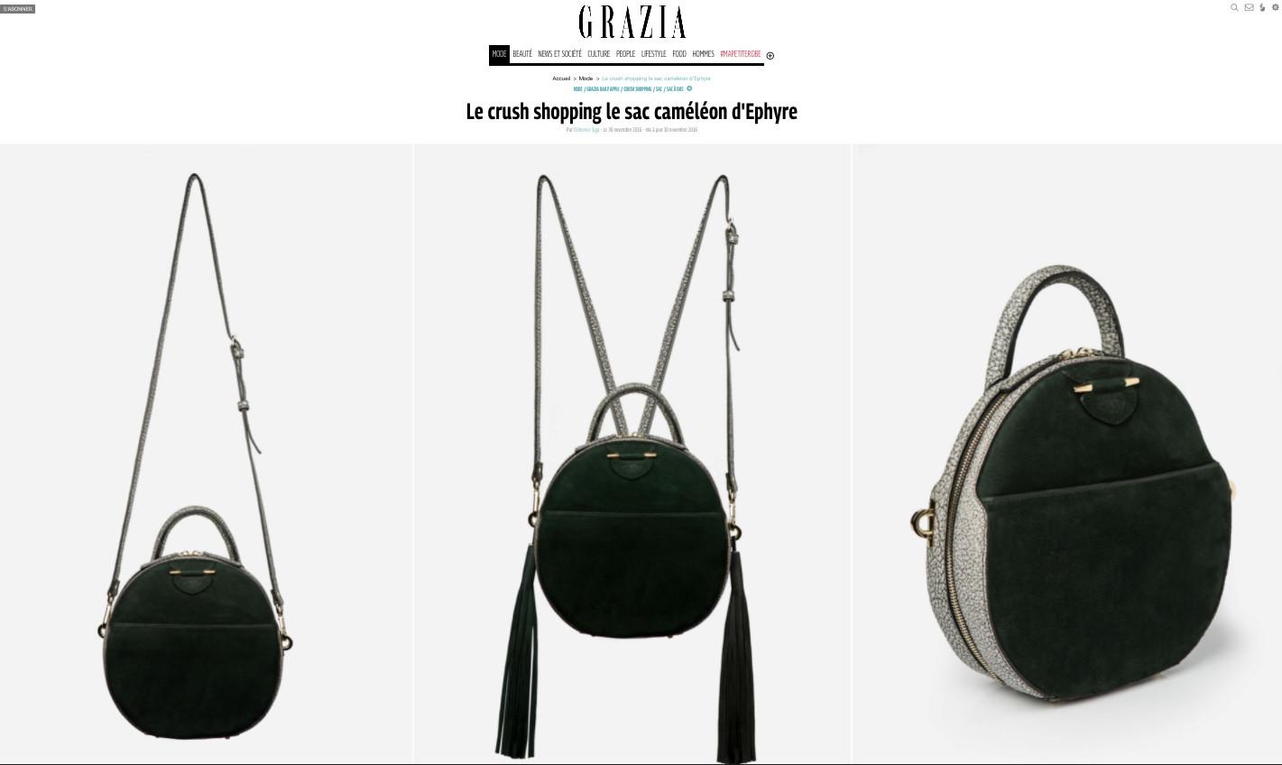 Grazia Le crush shopping le sac caméléon d'Ephyre